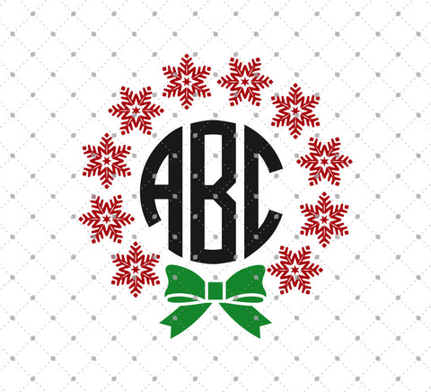 Christmas Snowflakes Monogram svg files D3