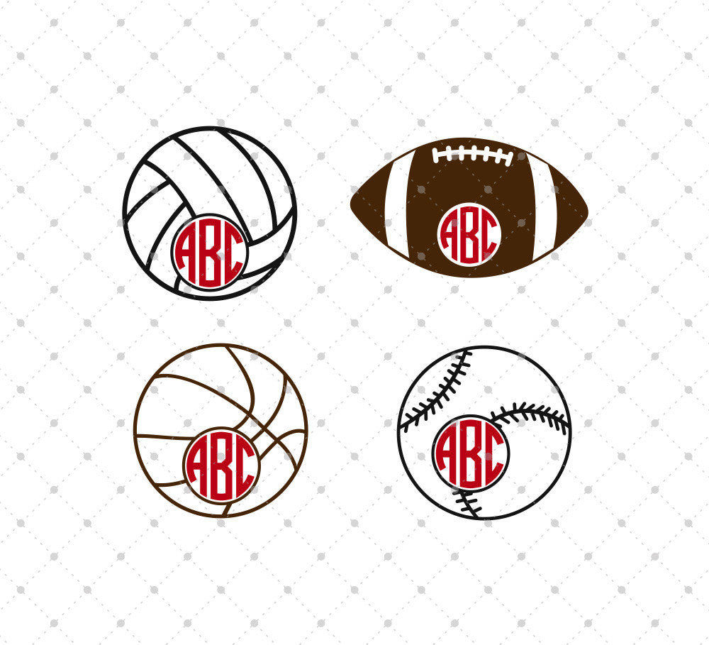 Sport Balls Monogram SVG Cut Files
