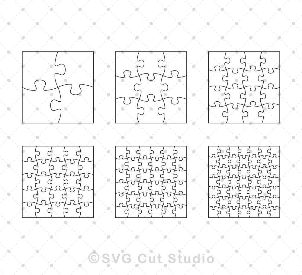 SVG files for Cricut Square Puzzle Template SVG EPS AI cut files Silhouette Studio3 files PNG clipart free svg by SVG Cut Studio