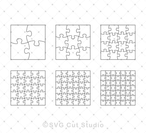 Square Puzzle Template SVG EPS AI cut files