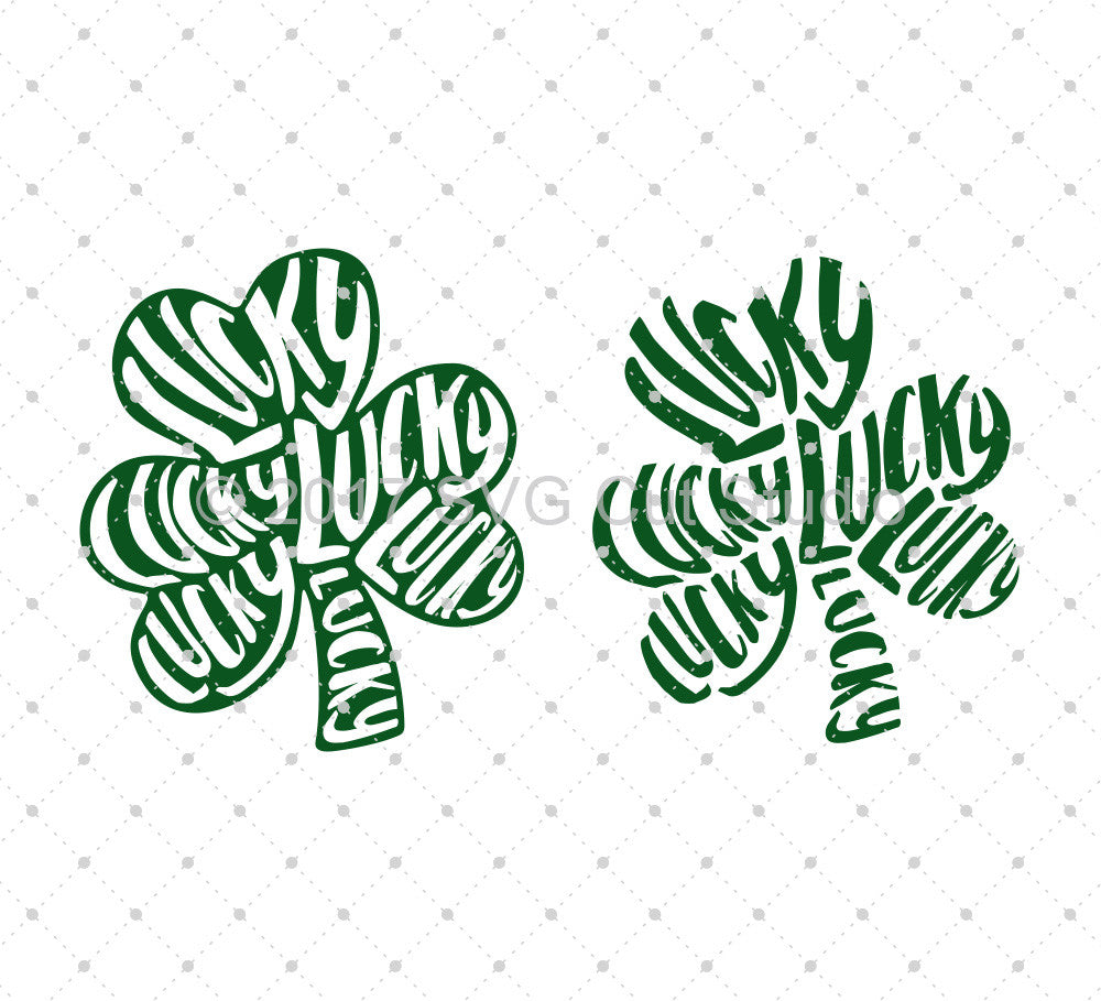 St Patrick's Day Lucky Shamrock SVG Cut Files for Cricut Silhouette printable png dxf clipart and free svg files by SVG Cut Studio