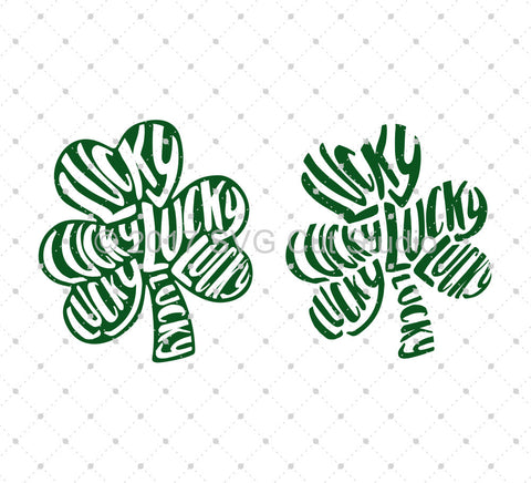 St Patrick's Day Lucky Shamrock SVG Cut Files - SVG DXF PNG cut cutting files for Cricut and Silhouette by SVG Cut Studio