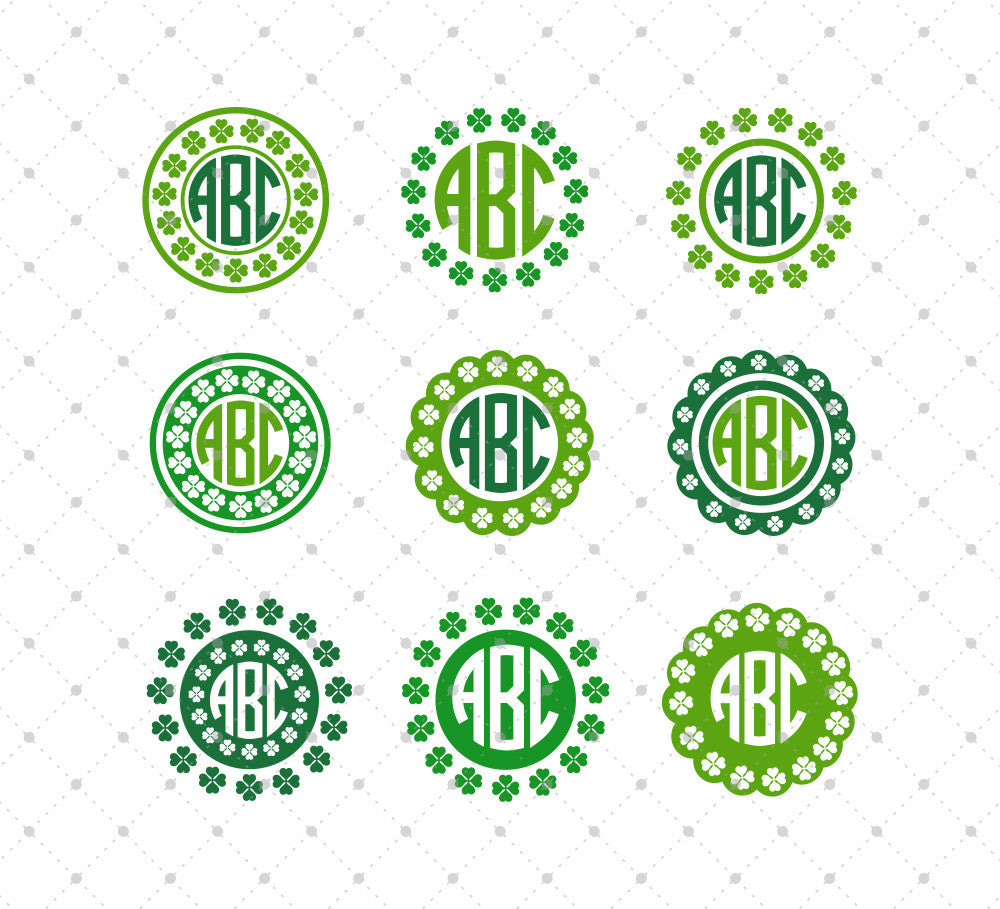 St. Patricks Day Monogram Frame SVG Cut Files #2