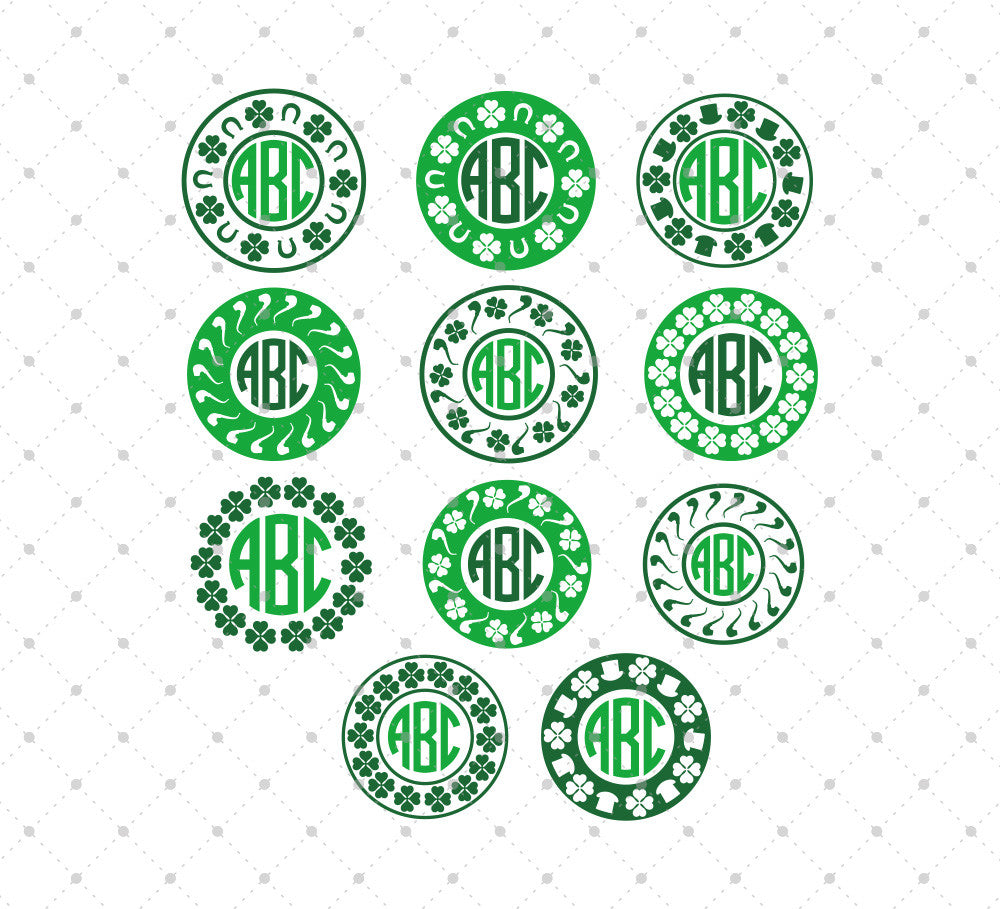 St. Patricks Day Monogram Frame SVG Cut Files #1