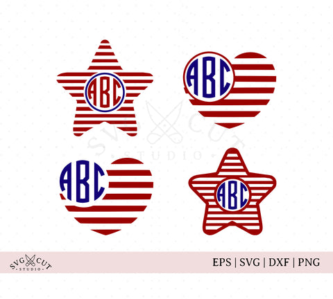 4th of July Star and Heart Monogram SVG Cut Files