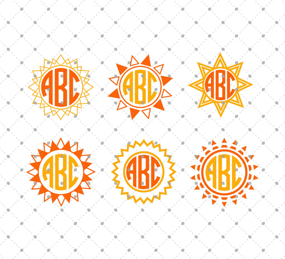 Sun Monogram Frames SVG Cut Files