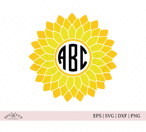 Sunflower Monogram SVG Cut Files