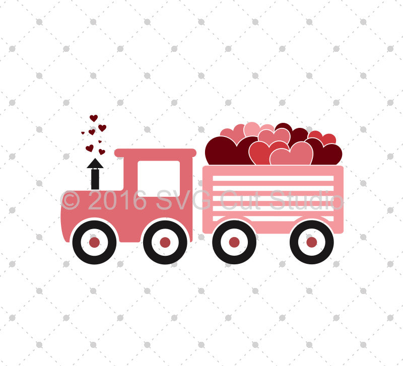 Valentines Day Steam train svg png dxf files