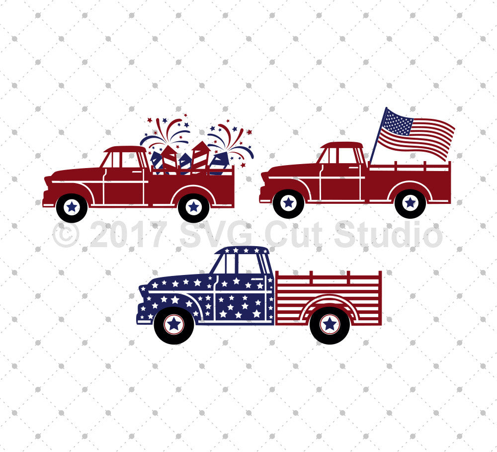 4th of July Old Truck SVG Cut Files