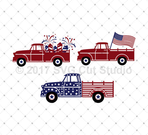 4th of July Old Truck SVG Cut Files at SVG Cut Studio