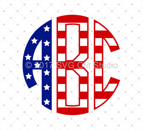 American Flag Circle Monogram Font SVG Cut Files