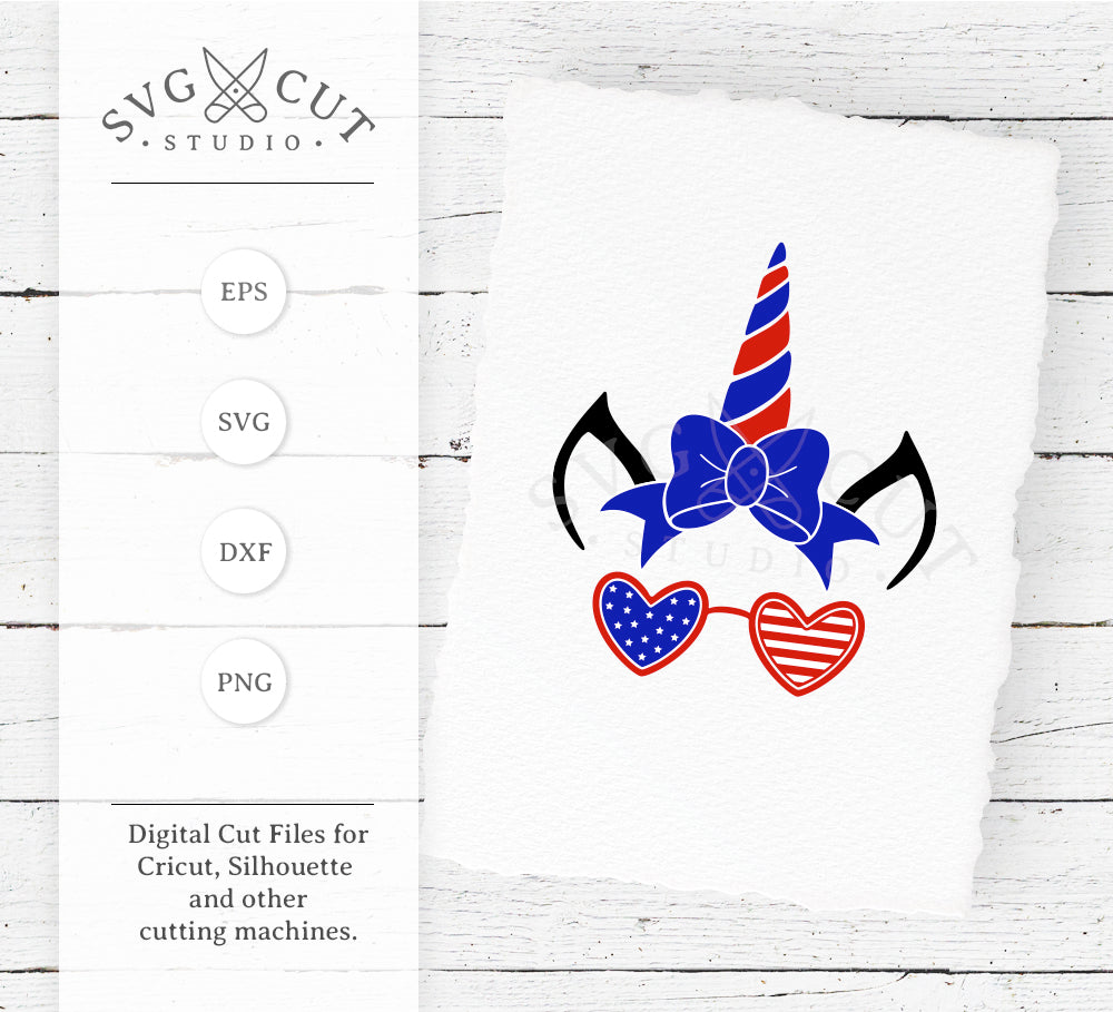 4th of July Unicorn with Glasses SVG Files