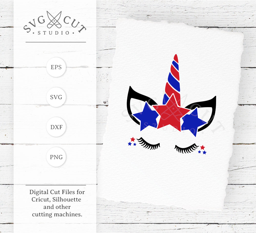 4th of July Stars Unicorn Face SVG Files