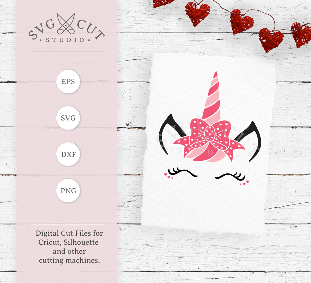 Valentine's Day Unicorn face with Bow svg files