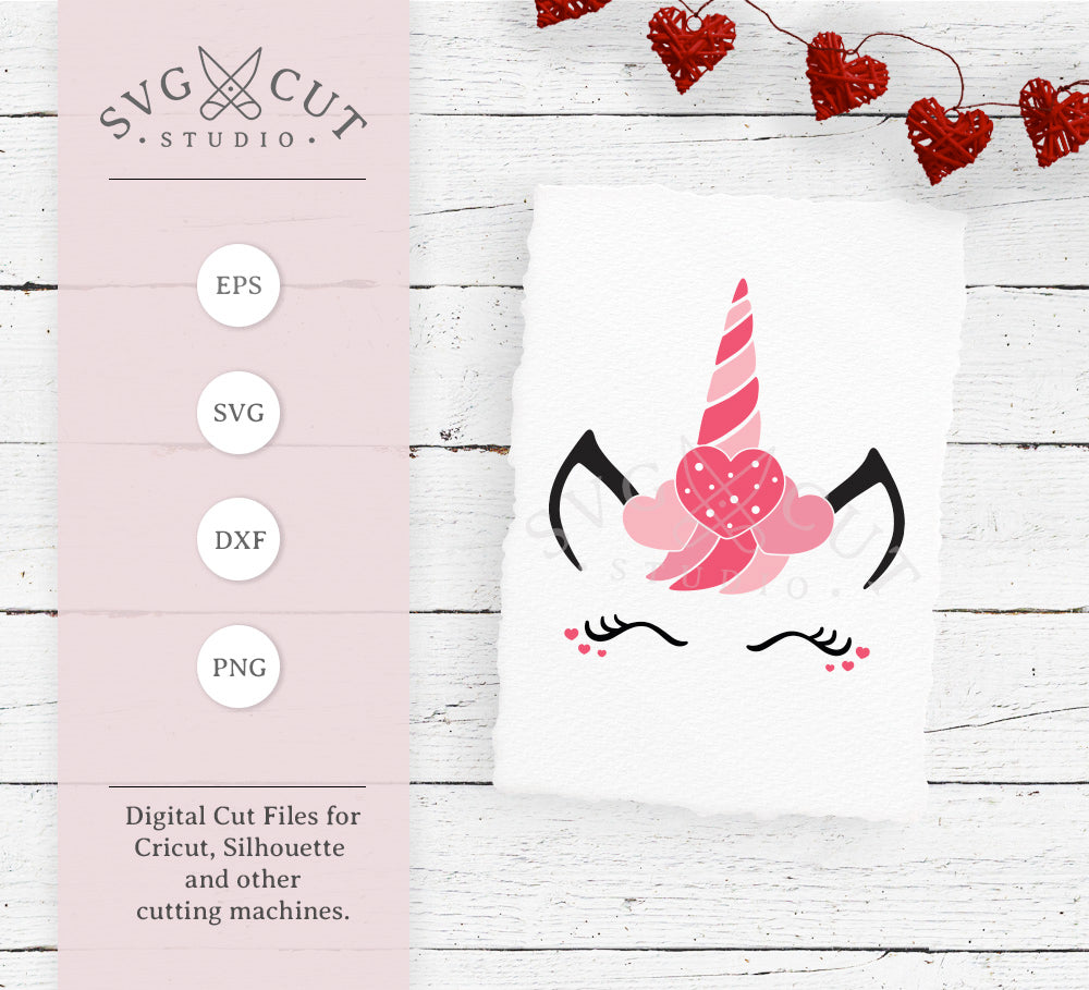 Svg Cut Files For Cricut And Silhouette Valentine S Day Unicorn