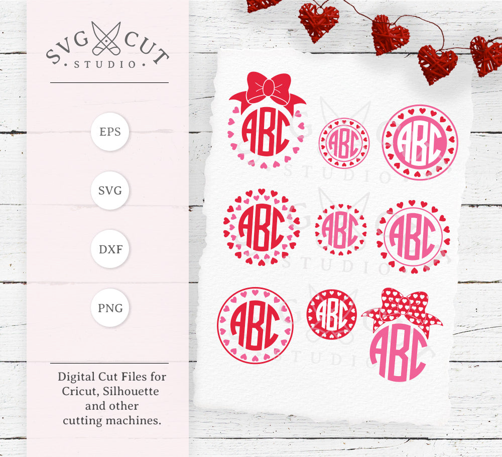 Svg Cut Files For Cricut And Silhouette Hearts Monogram Frame