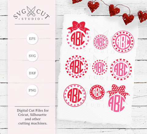 Hearts Monogram Frames Valentines Day SVG Cut Files