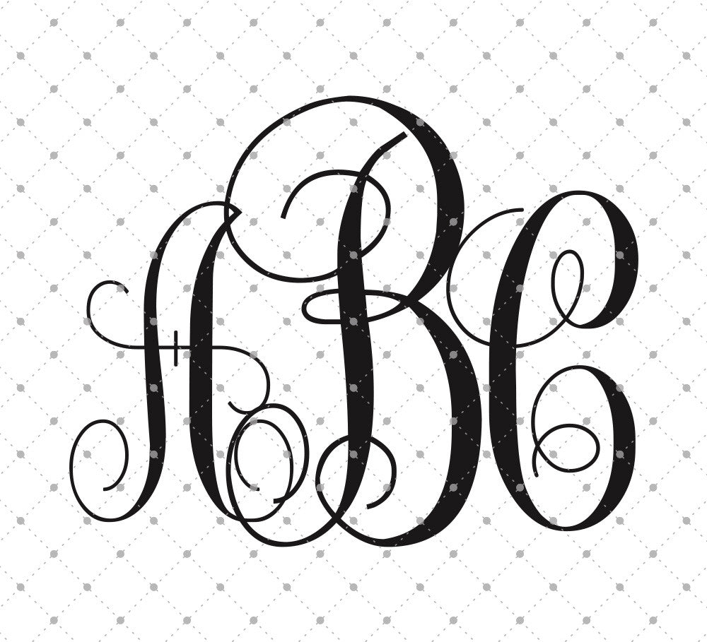 Vine Monogram Font SVG PNG DXF Cut Files