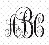 Vine Monogram Font SVG PNG DXF Cut Files for Cricut and Silhouette Studio3 files PNG clipart free svg by SVG Cut Studio