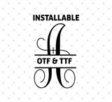 Installable Vine Split True Type Monogram Font for Cricut Silhouette printable png dxf clipart and free svg files by SVG Cut Studio