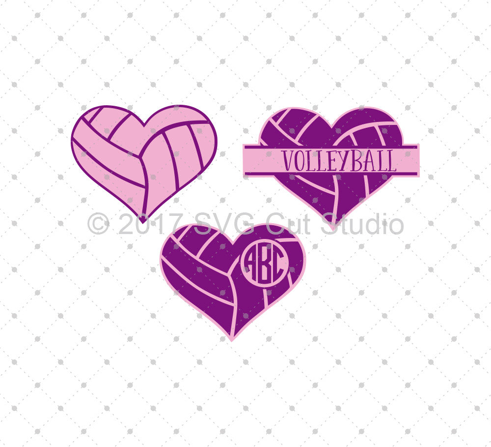 SVG files for Cricut Volleyball Heart SVG Cut Files Silhouette Studio3 files PNG clipart free svg by SVG Cut Studio