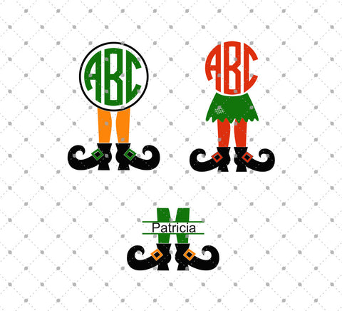 Witch Legs Monogram Frame SVG Cut Files