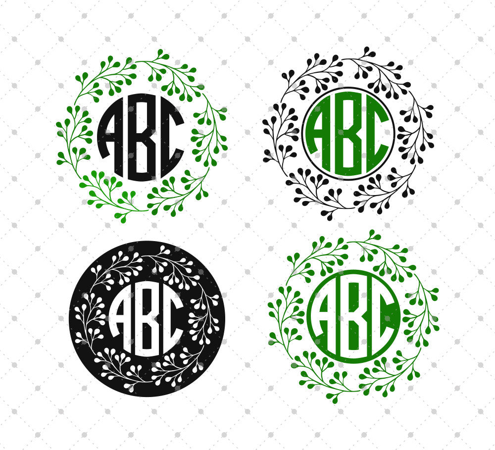 Wreath Monogram Frame SVG Cut Files
