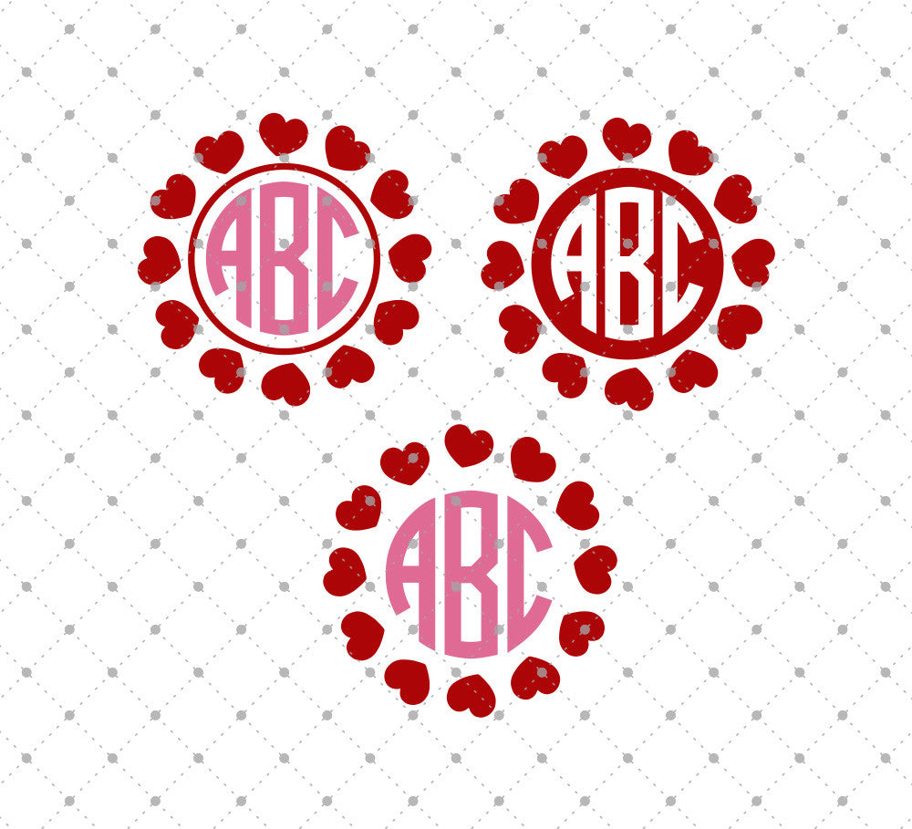 Hearts Monogram Frames SVG Cut Files D3