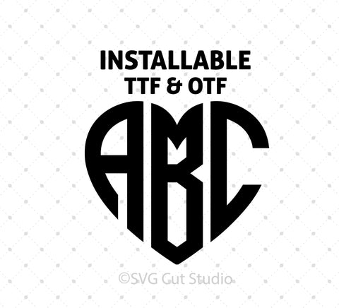 SVG files for Cricut True Type Heart Monogram Font Silhouette Studio3 files PNG clipart free svg by SVG Cut Studio