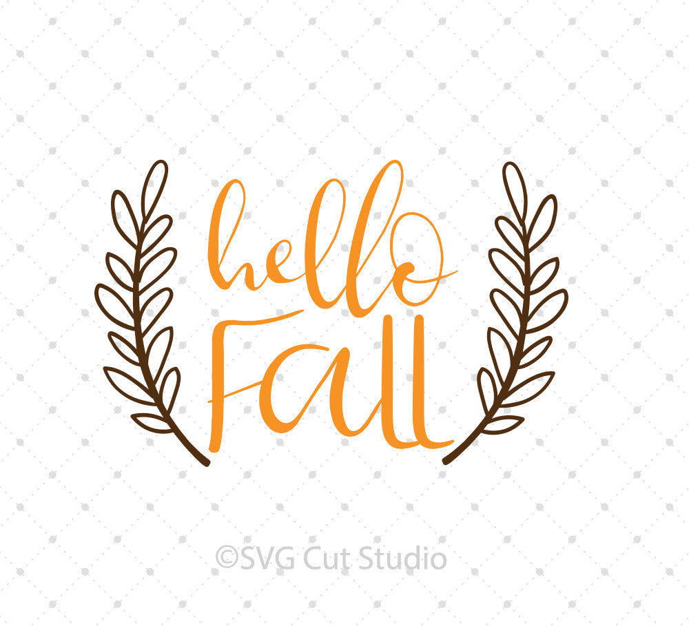 SVG files for Cricut Hello Fall SVG Cut Files Silhouette Studio3 files PNG clipart free svg by SVG Cut Studio