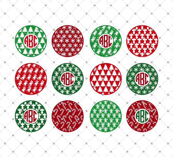 SVG files for Cricut Patterned Christmas Monogram Frames SVG Cut Files Silhouette Studio3 files PNG clipart free svg by SVG Cut Studio