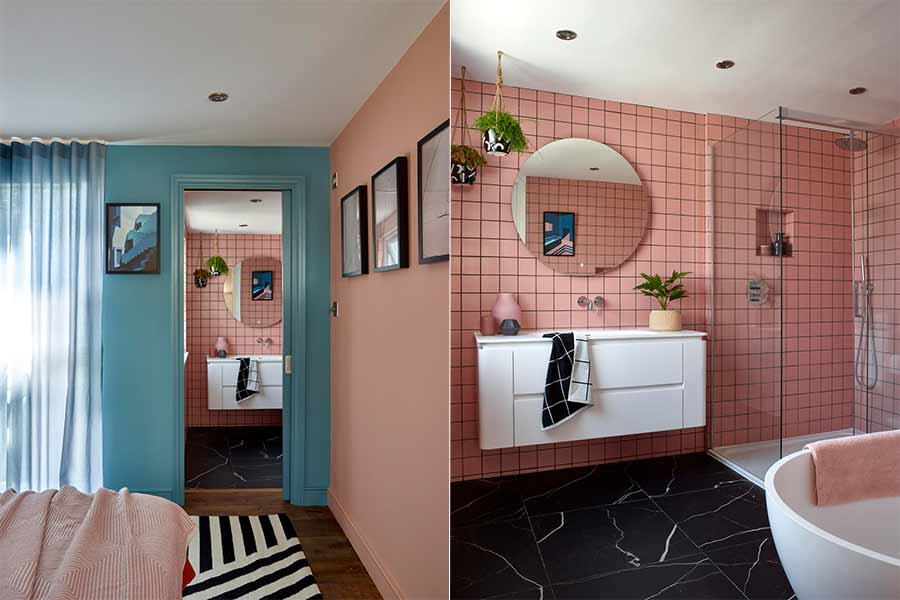 Folds pink and blue bathroom