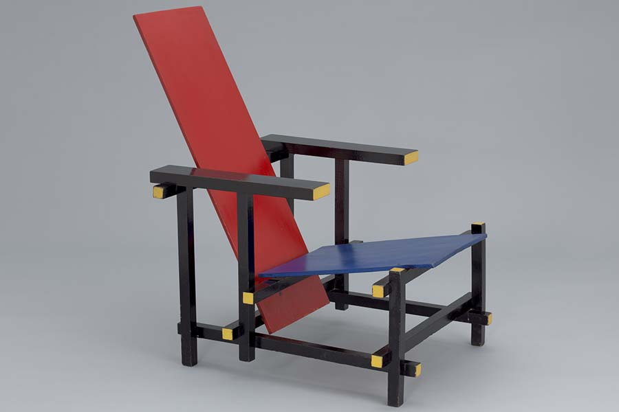 Vintage Red and Blue Chair by Gerrit Rietveld