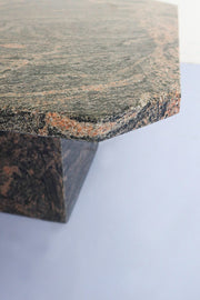 Square Marble Side Table - Charcoal and Rose