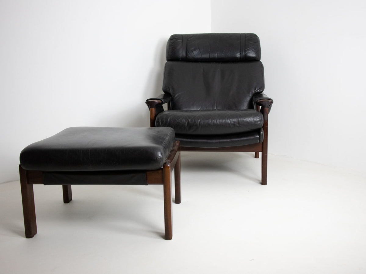 Mid century armchair and footstool