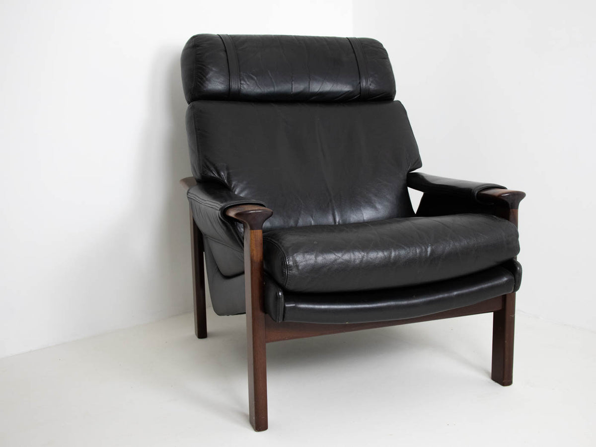 MCM Armchair and Footstool - Rosewood and Leather