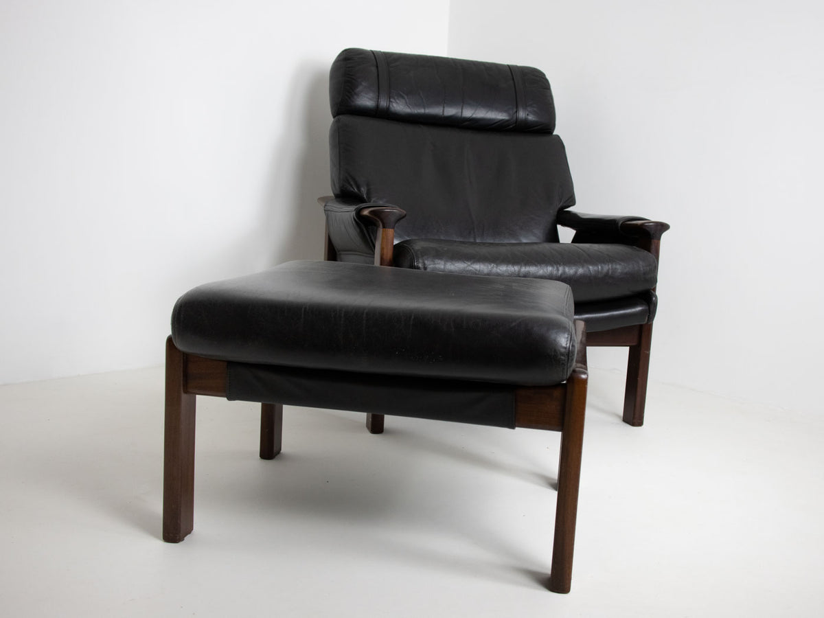 Danish Modern lounge chair with footstool