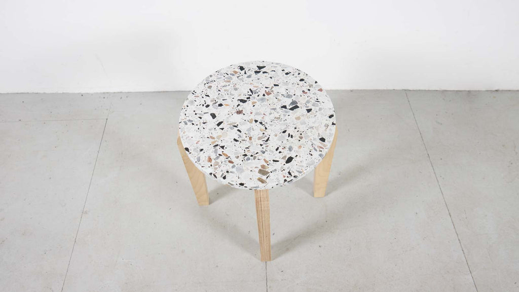 Terrazzo Marble and Plywood Side Table by Brauter Denholm