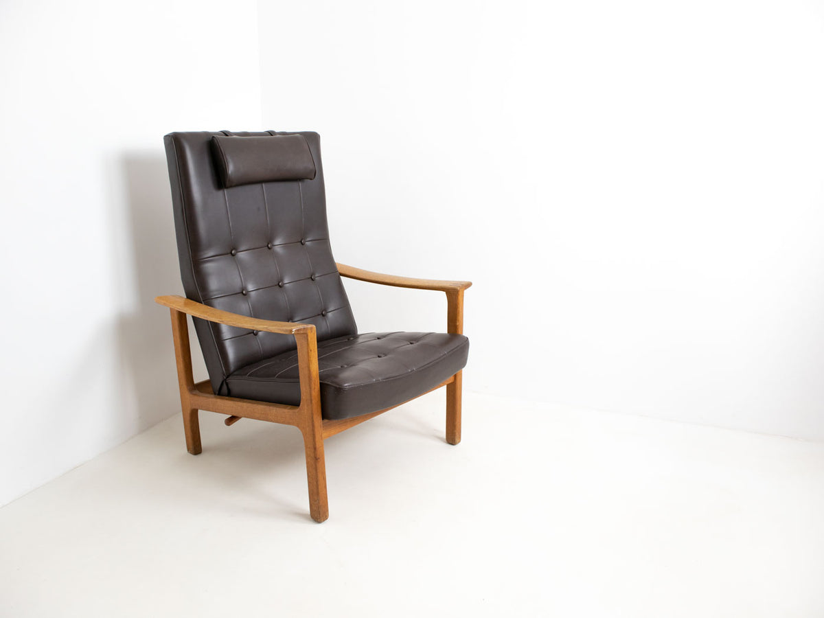 Vintage Swedish armchair with leather upholstery