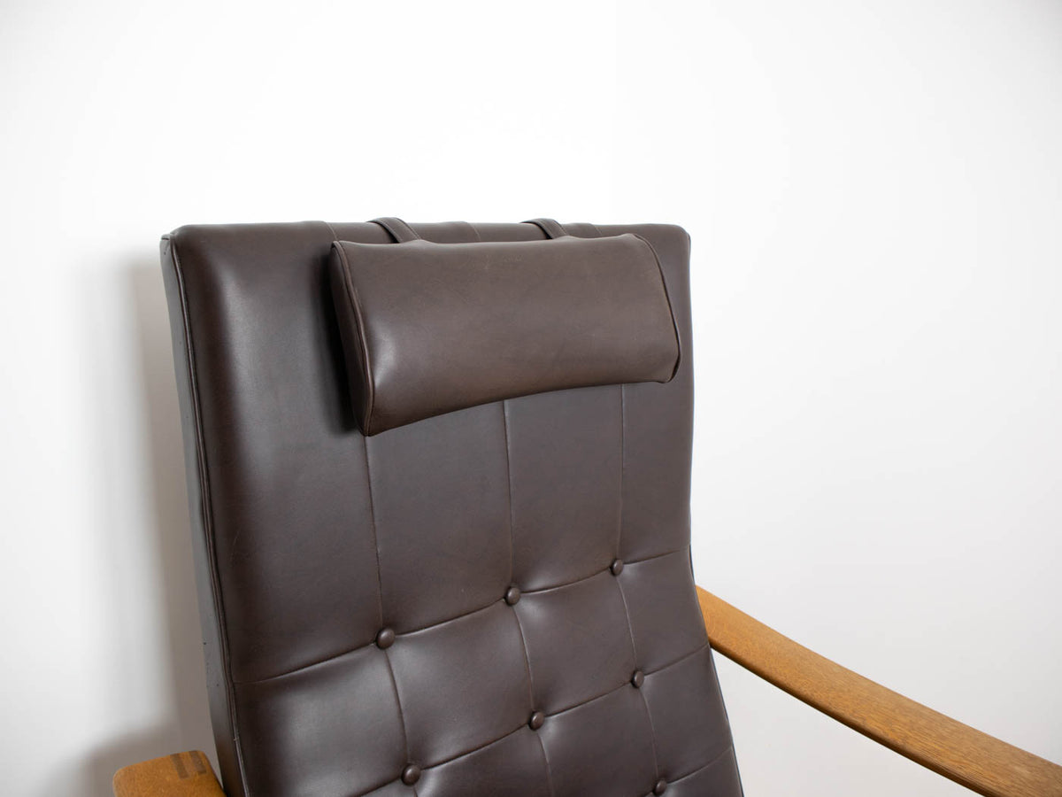 Mid century modern leather armchair with footstool