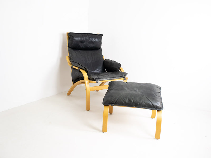 Danish Bentwood and Leather Armchair and Footstool