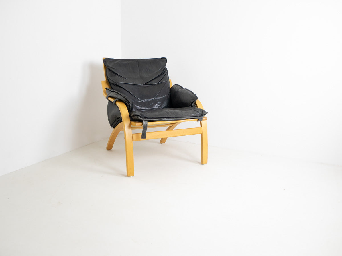 Danish Bentwood and Leather Armchair