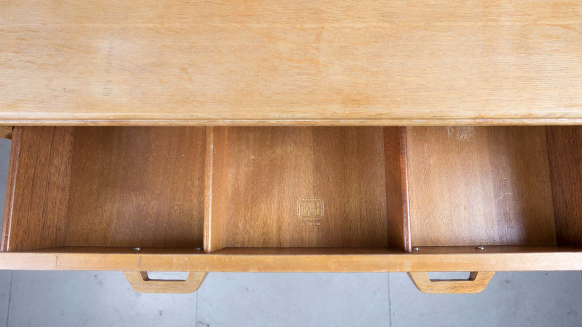 Inside top drawer oak chest of drawers