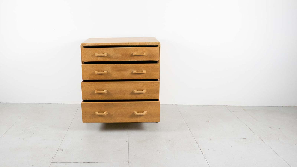 Front view E-Gomme oak chest of drawers
