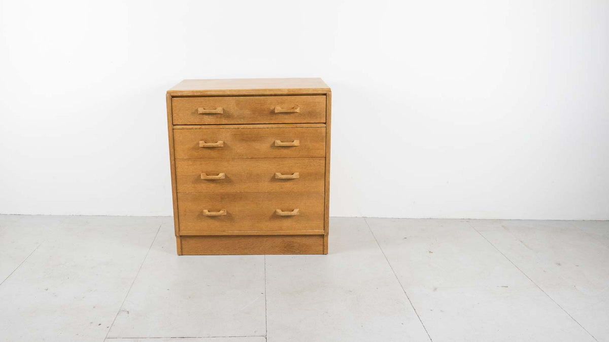 Front view vintage oak chest of drawers