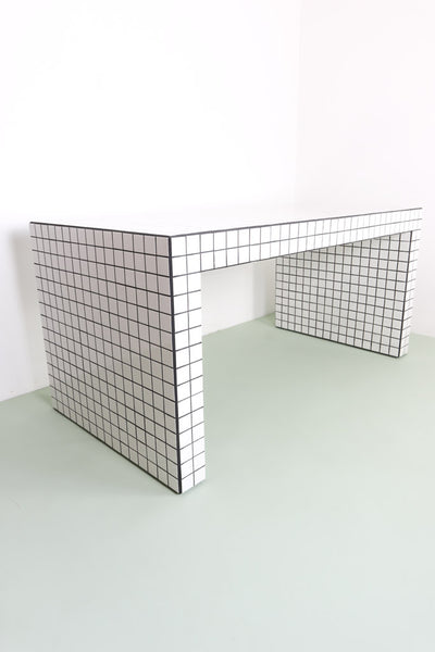 white tiled table