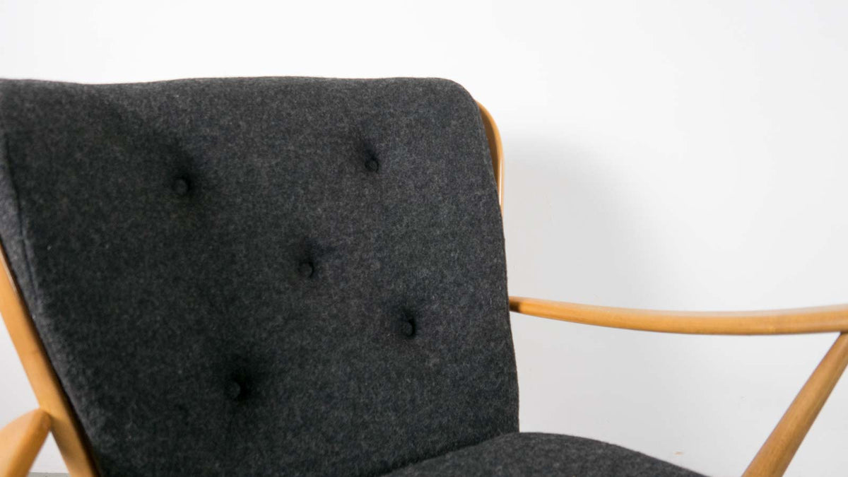 Re-upholstered Ercol armchair