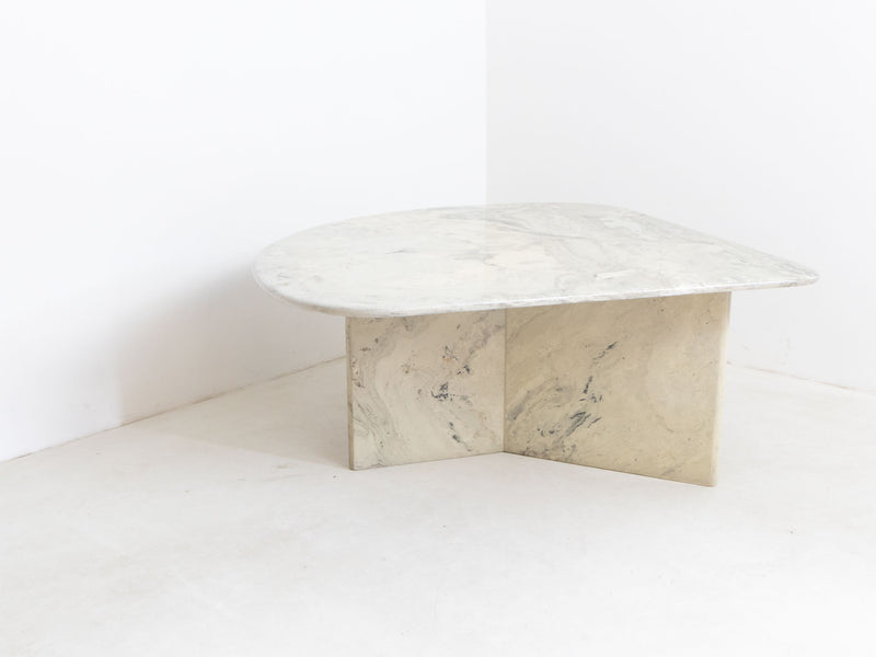 Large Vintage Italian Marble Coffee Table - White