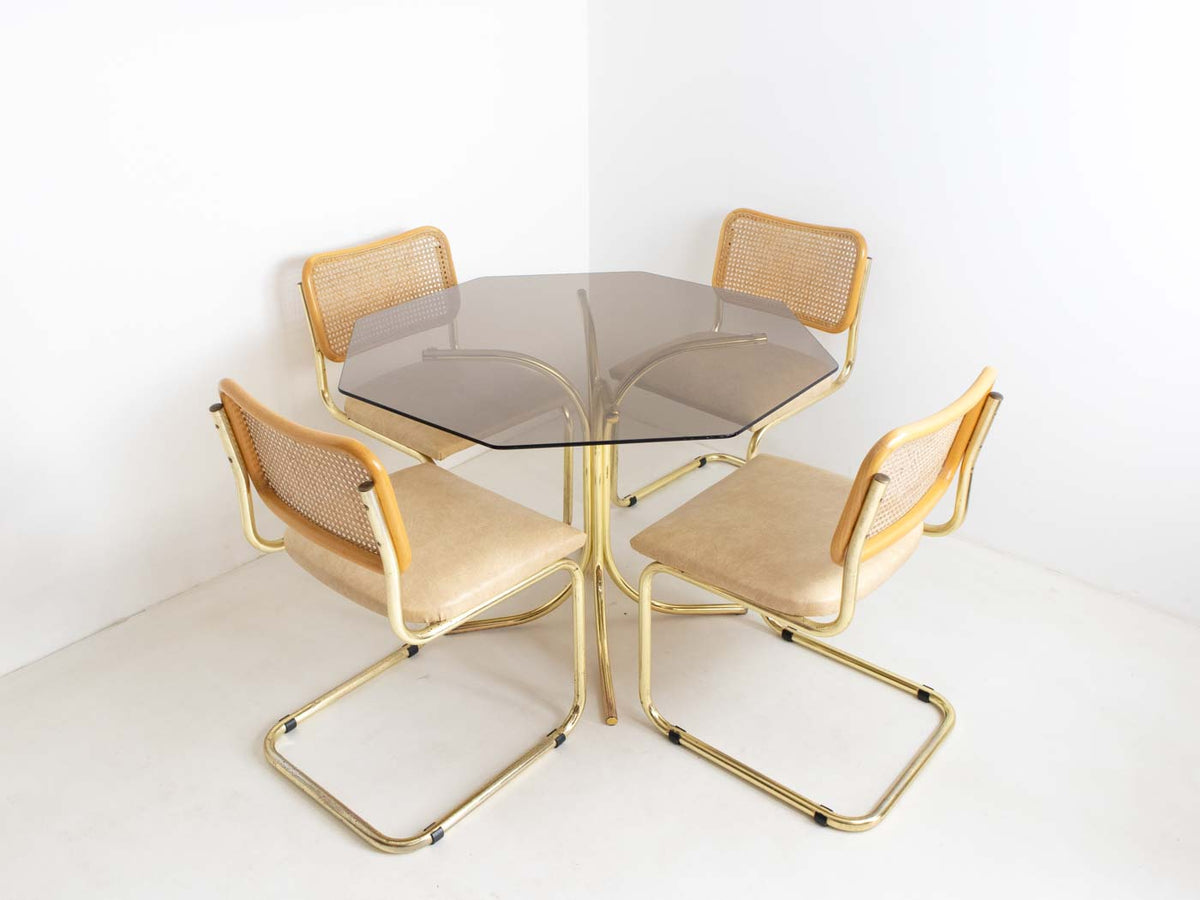 Bronze-colour chrome dining table and chairs