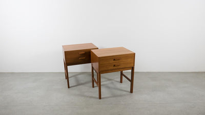 mid-century side tables with drawers